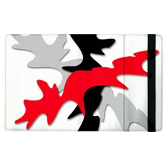 Gray, Red And Black Shape Apple Ipad 3/4 Flip Case by Valentinaart