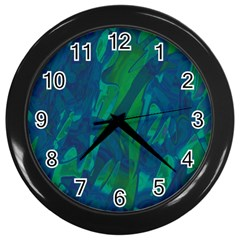 Green And Blue Design Wall Clocks (black) by Valentinaart