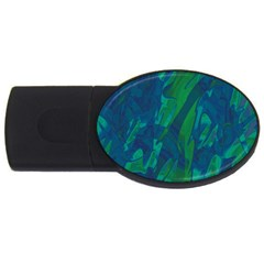 Green And Blue Design Usb Flash Drive Oval (2 Gb)