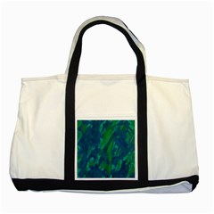 Green And Blue Design Two Tone Tote Bag by Valentinaart