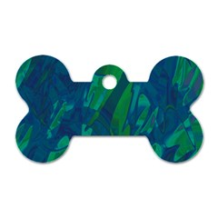 Green And Blue Design Dog Tag Bone (two Sides) by Valentinaart