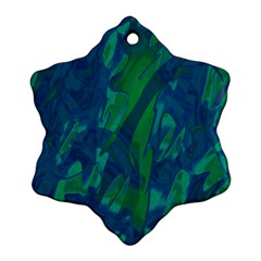 Green And Blue Design Snowflake Ornament (2 Side) by Valentinaart