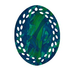 Green And Blue Design Oval Filigree Ornament (2 Side)  by Valentinaart