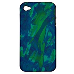 Green And Blue Design Apple Iphone 4/4s Hardshell Case (pc+silicone) by Valentinaart