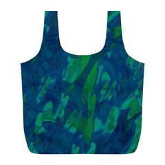 Green And Blue Design Full Print Recycle Bags (l)  by Valentinaart