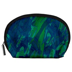 Green And Blue Design Accessory Pouches (large)  by Valentinaart