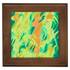 Green And Orange Abstraction Framed Tiles by Valentinaart