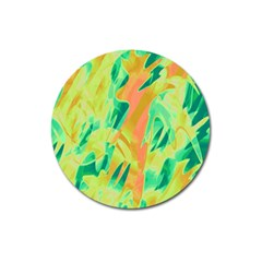Green And Orange Abstraction Magnet 3  (round) by Valentinaart