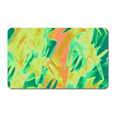 Green And Orange Abstraction Magnet (rectangular) by Valentinaart