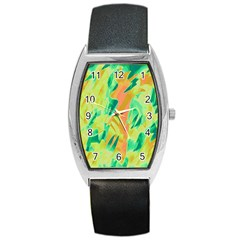 Green And Orange Abstraction Barrel Style Metal Watch by Valentinaart
