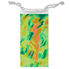 Green And Orange Abstraction Jewelry Bags by Valentinaart