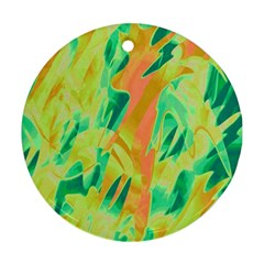 Green And Orange Abstraction Round Ornament (two Sides)  by Valentinaart