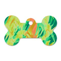 Green And Orange Abstraction Dog Tag Bone (one Side) by Valentinaart