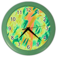 Green And Orange Abstraction Color Wall Clocks by Valentinaart