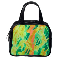Green And Orange Abstraction Classic Handbags (one Side) by Valentinaart