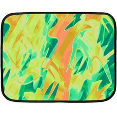 Green And Orange Abstraction Double Sided Fleece Blanket (mini)  by Valentinaart