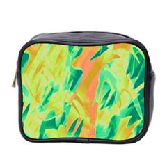 Green And Orange Abstraction Mini Toiletries Bag 2 Side by Valentinaart