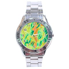 Green And Orange Abstraction Stainless Steel Analogue Watch