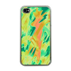 Green And Orange Abstraction Apple Iphone 4 Case (clear) by Valentinaart