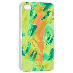 Green And Orange Abstraction Apple Iphone 4/4s Seamless Case (white) by Valentinaart