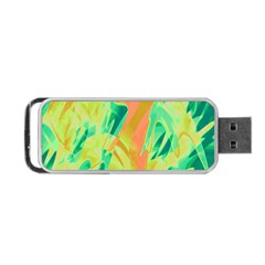 Green And Orange Abstraction Portable Usb Flash (one Side) by Valentinaart