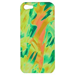 Green And Orange Abstraction Apple Iphone 5 Hardshell Case by Valentinaart