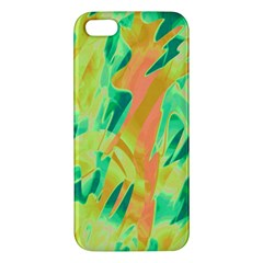 Green And Orange Abstraction Apple Iphone 5 Premium Hardshell Case by Valentinaart