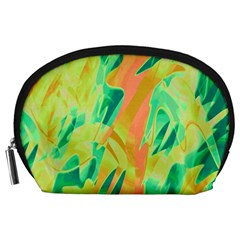 Green And Orange Abstraction Accessory Pouches (large)  by Valentinaart