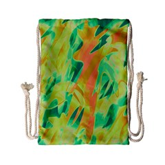 Green And Orange Abstraction Drawstring Bag (small) by Valentinaart