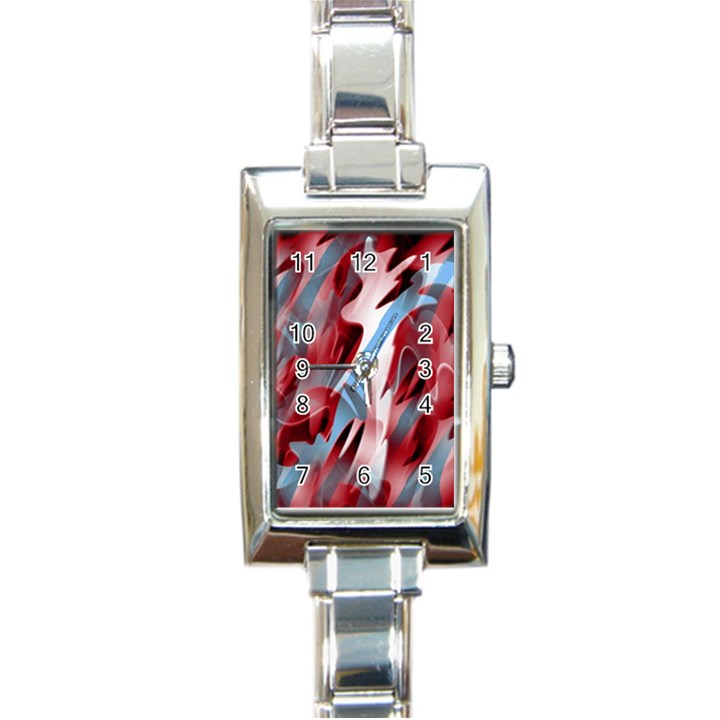 Blue and red smoke Rectangle Italian Charm Watch