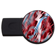 Blue And Red Smoke Usb Flash Drive Round (2 Gb)  by Valentinaart