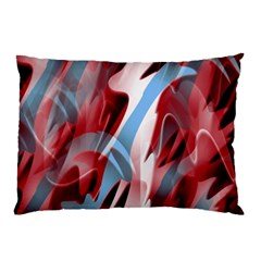 Blue And Red Smoke Pillow Case by Valentinaart