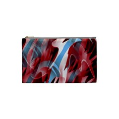 Blue And Red Smoke Cosmetic Bag (small)  by Valentinaart