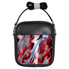 Blue And Red Smoke Girls Sling Bags by Valentinaart