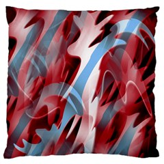 Blue And Red Smoke Large Flano Cushion Case (one Side) by Valentinaart