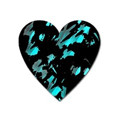 Painter Was Here - Cyan Heart Magnet by Valentinaart