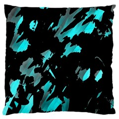 Painter Was Here   Cyan Large Cushion Case (two Sides) by Valentinaart