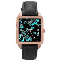 Painter Was Here   Cyan Rose Gold Leather Watch  by Valentinaart