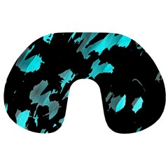 Painter Was Here   Cyan Travel Neck Pillows by Valentinaart