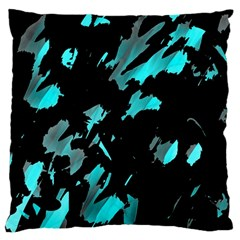 Painter Was Here   Cyan Large Flano Cushion Case (one Side) by Valentinaart