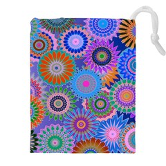 Funky Flowers B Drawstring Pouches (xxl) by MoreColorsinLife