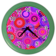 Funky Flowers C Color Wall Clocks by MoreColorsinLife