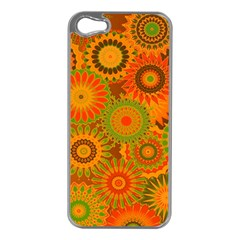 Funky Flowers D Apple Iphone 5 Case (silver) by MoreColorsinLife