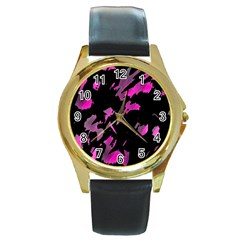 Painter Was Here   Magenta Round Gold Metal Watch by Valentinaart