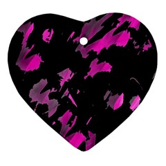 Painter Was Here   Magenta Heart Ornament (2 Sides) by Valentinaart