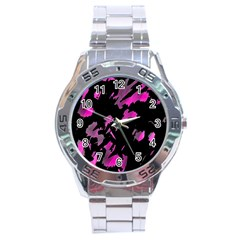 Painter Was Here   Magenta Stainless Steel Analogue Watch by Valentinaart