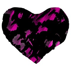 Painter Was Here   Magenta Large 19  Premium Heart Shape Cushions by Valentinaart