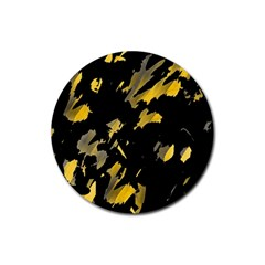 Painter Was Here   Yellow Rubber Round Coaster (4 Pack)  by Valentinaart