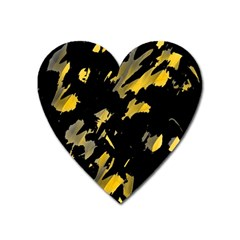 Painter Was Here   Yellow Heart Magnet by Valentinaart