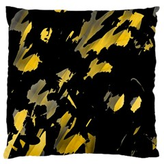 Painter Was Here   Yellow Large Cushion Case (two Sides) by Valentinaart
